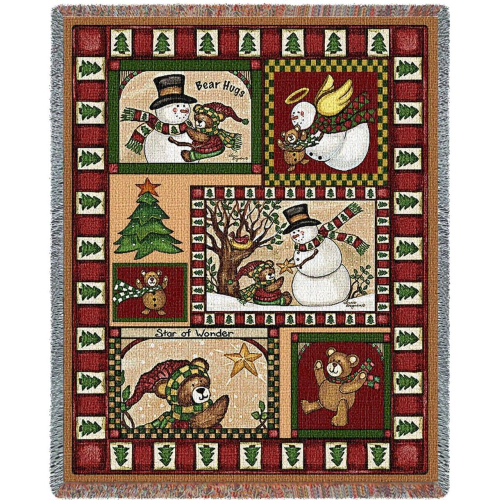 Christmas Bear Patchwork Throw